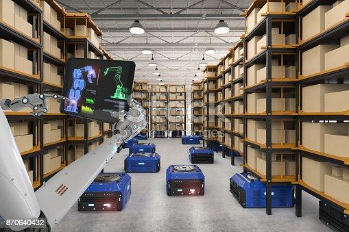 istock cyborg control warehouse robot 870640432