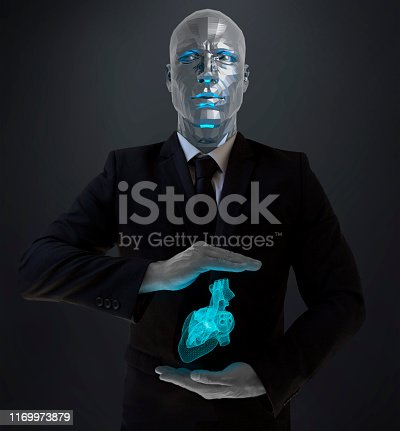 Robot faced man in black is showing virtual heart between his hands.