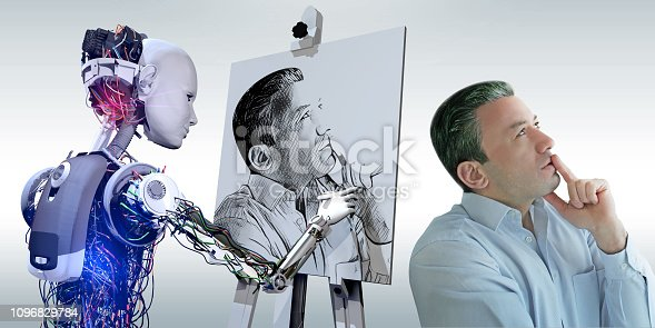 istock Cyborg Drawing Portrait 1096829784