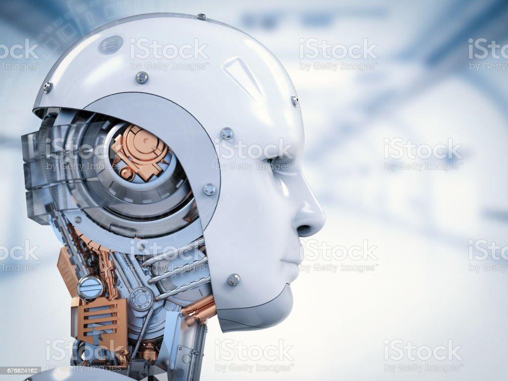 cyborg face or robot face stock photo