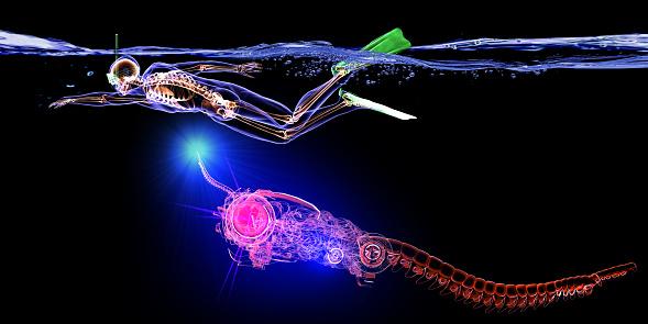 istock Cyborg Fish is Attacking Man 982029164