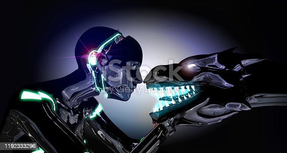 istock Cyborg Girl and Alien Friendship 1192333296