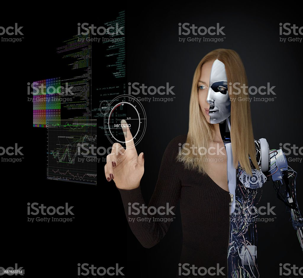 Cyborg Girl and Interactive Technology stock photo