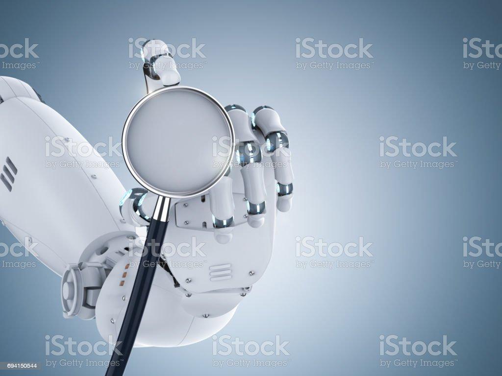 cyborg hand holding stethoscope stock photo