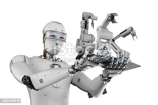istock cyborg holding three robot arms 693492818