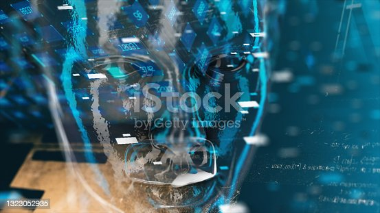 istock Cyborg in digital data environment 1323052935