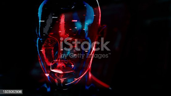 istock Cyborg in digital data environment 1323052936