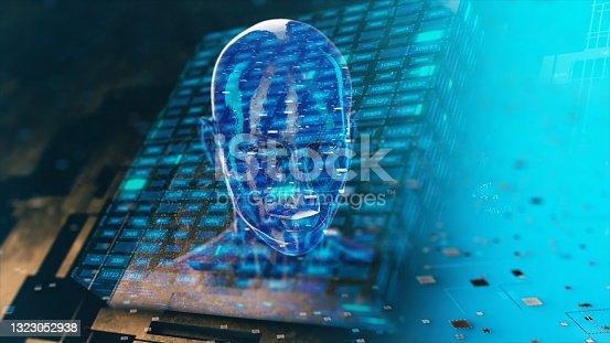 istock Cyborg in digital data environment 1323052938