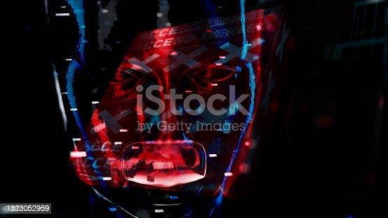 istock Cyborg in digital data environment 1323052959