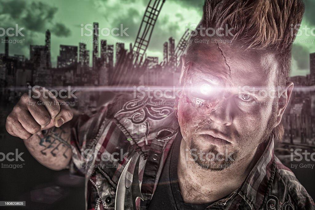 Cyborg on the Street Thug Ready To Fight royalty-free stock photo