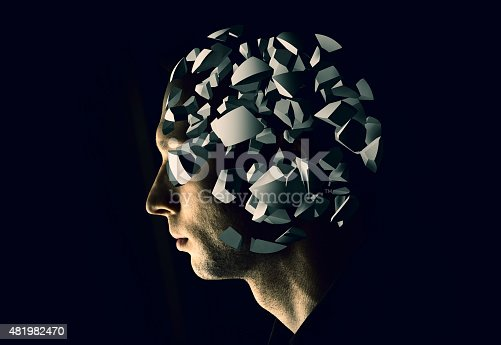 istock Cyborg profile portrait with brain explosion fragments 481982470