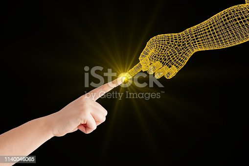 istock Cyborg Robot Connecting to Human, Artificial Intelligence Concept 1140046065