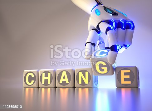 istock cyborg robot hand changes text cube - ai concept 1128698013