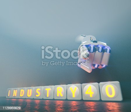 istock cyborg robot hand shows industry 4.0 sign - ai concept - 3d rendering 1129955629