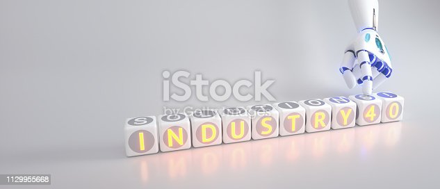 istock cyborg robot hand shows industry 4.0 sign - ai concept - 3d rendering 1129955668