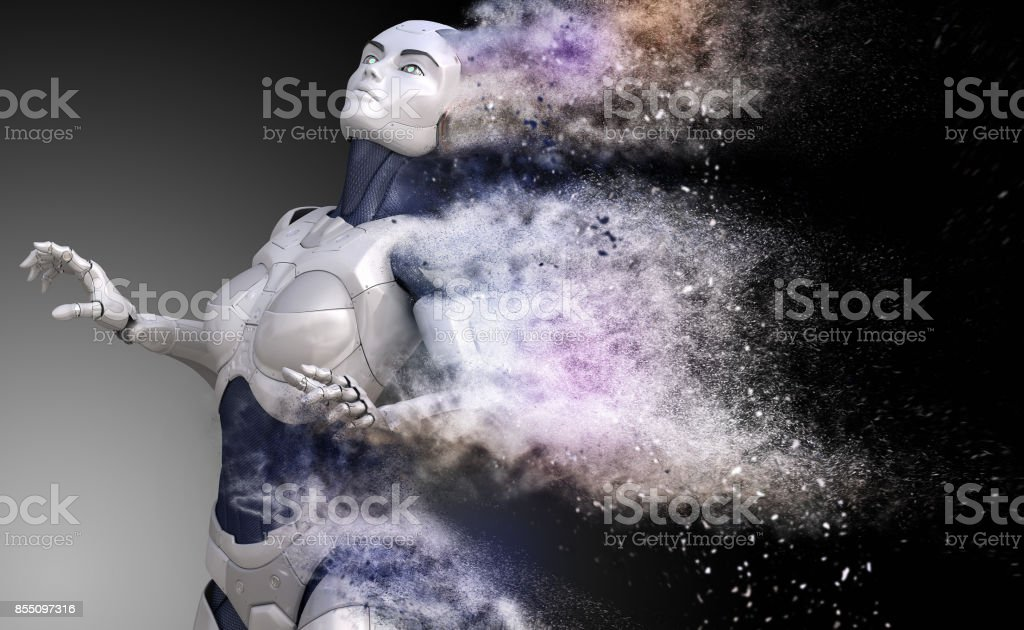 Cyborg shattered into dust stock photo