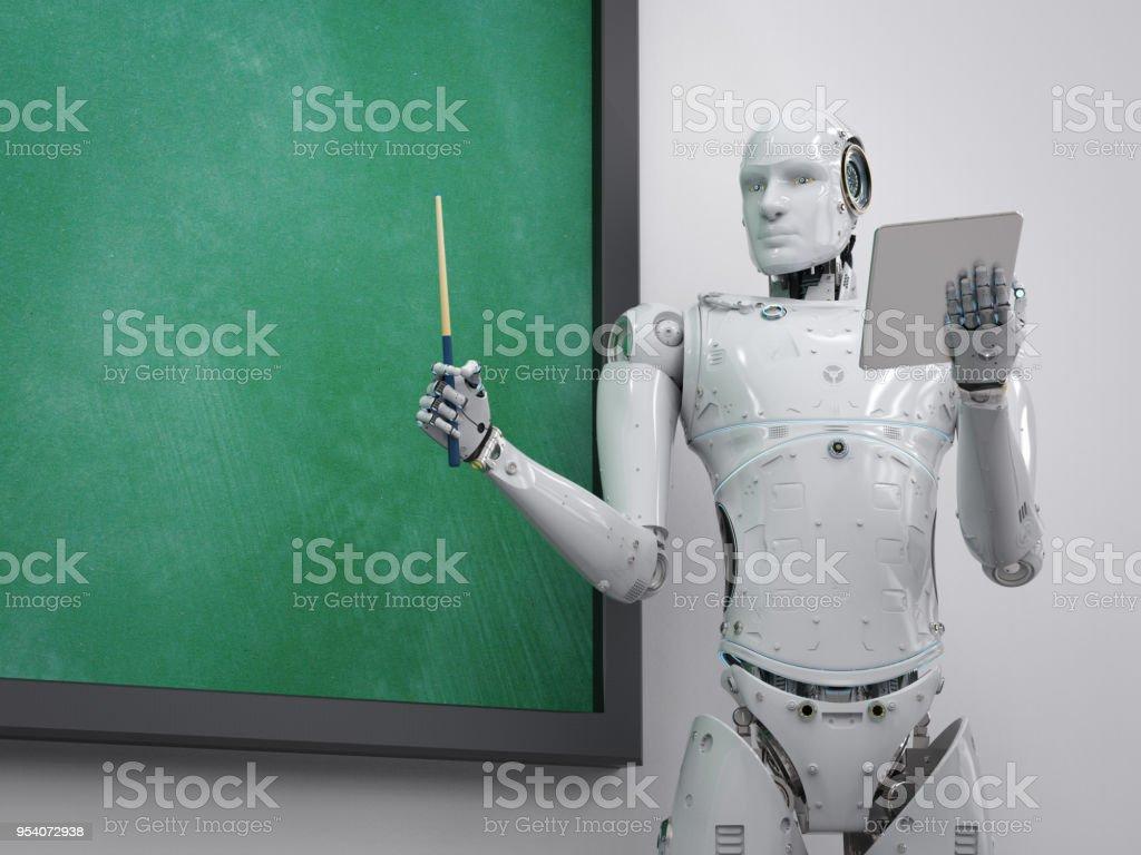 cyborg teacher or lecturer stock photo