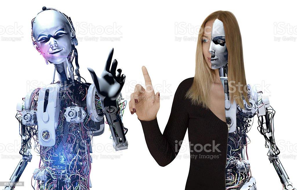 Cyborg Team in The Future stock photo