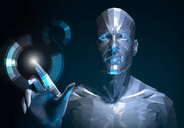 cyborg sie interaktive medien  - haarschnitt rundes gesicht stock-fotos und bilder