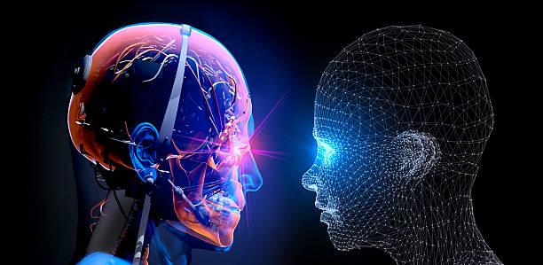 Cyborg vs Virtual Man stock photo