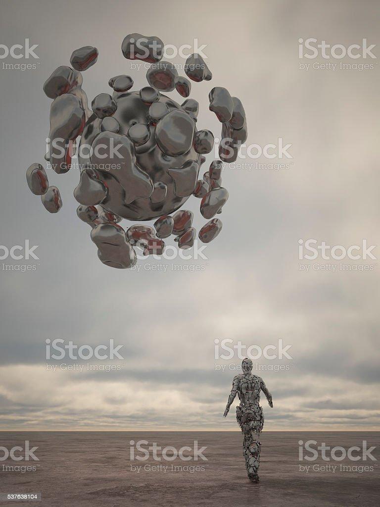 Cyborg zu Fuß zum UFO – Foto