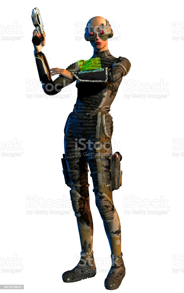 Cyborg warrior looks at holographic screen on gauntlet stock photo
