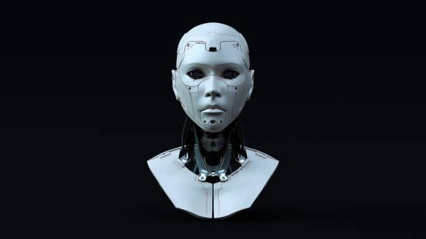 cyborg con iluminación neutral azul frente - robot fotografías e imágenes de stock