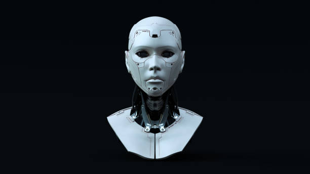 cyborg with blue neutral lighting front - cyborg stock pictures, royalty-free photos & images