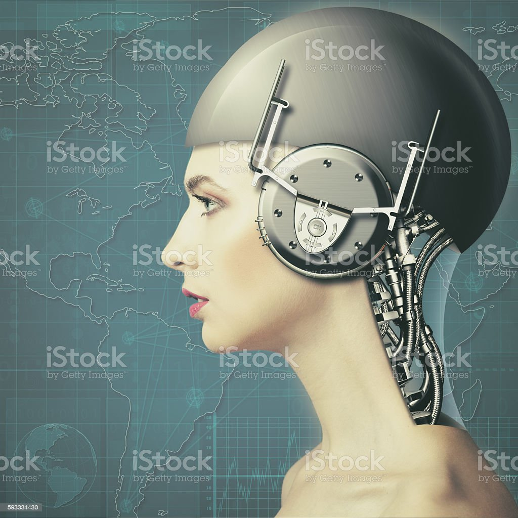Cyborg woman stock photo