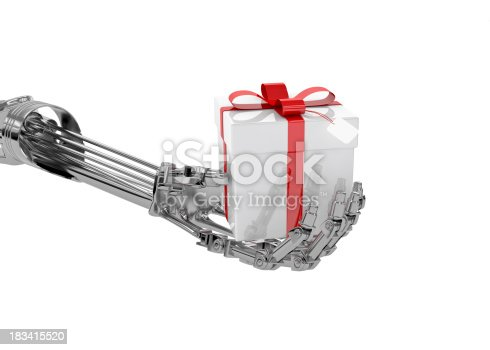 istock Cyborg's Gift, Robot Hand with Present (XXXL-35MPx) 183415520