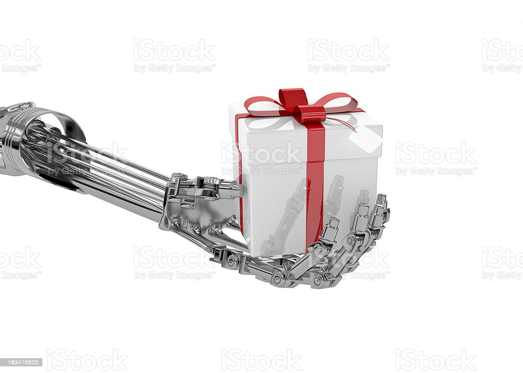 Cyborg's Gift, Robot Hand with Present (XXXL-35MPx) stock photo
