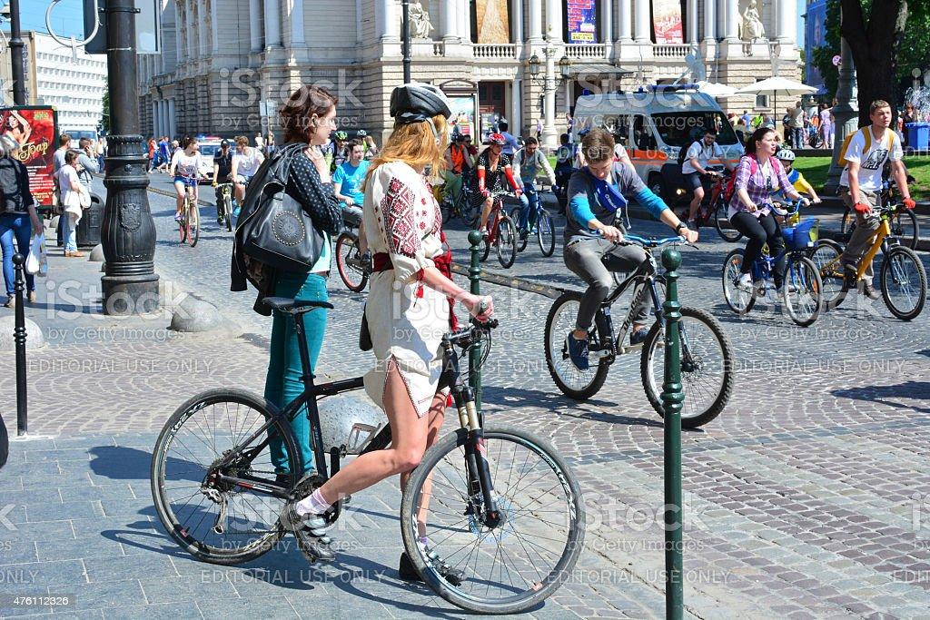 Cycle Day in ukrainian city of Lviv, at Svobody Avenue stock photo