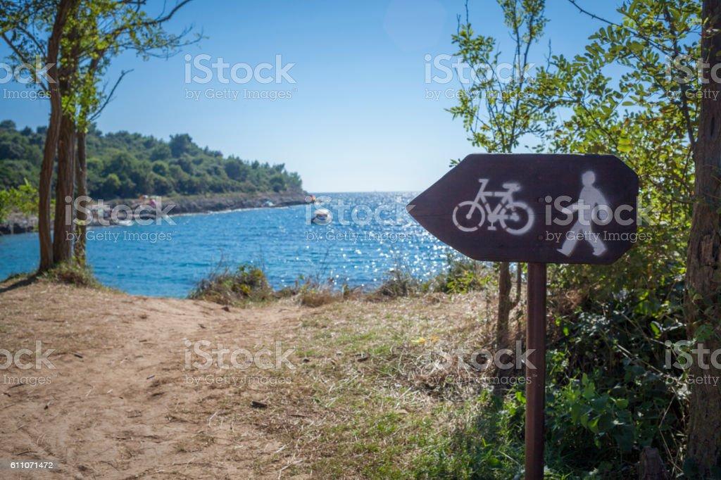 Cycle Footpath Sign Istria Croatia stock photo