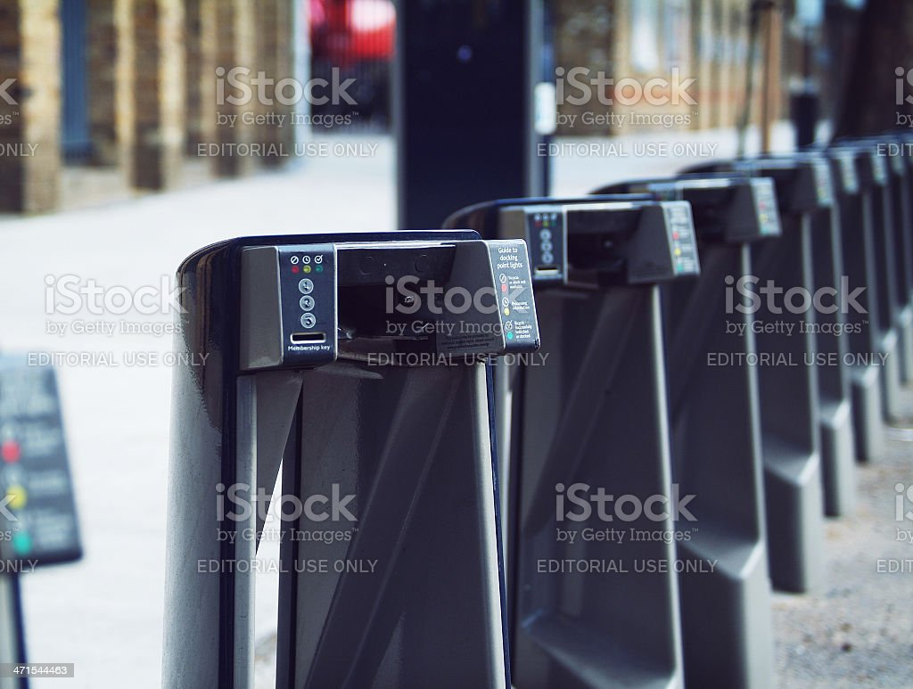 Cycle hire docking stations stock photo
