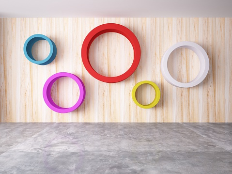 Cycle of color on the wood wall