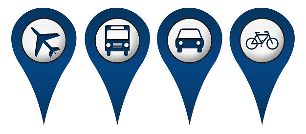 Location icons with cycle, plane, bus, car symbols.