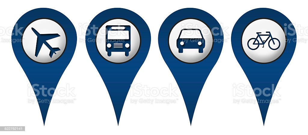 Cycle Plane Bus Car Location Icons stock photo