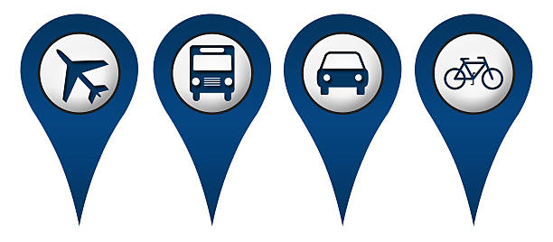 cycle plane bus car location icons - transportation icons stock photos and pictures