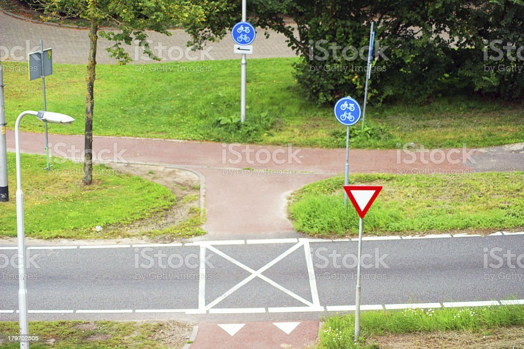 cycle road crossing in the Netherlands stock photo