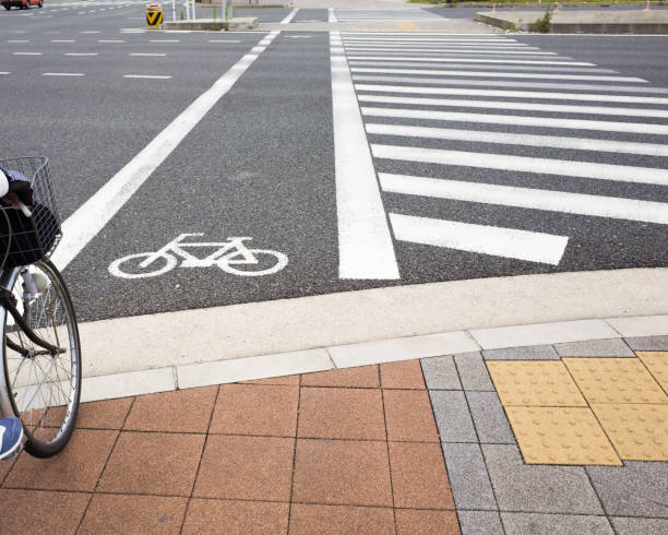 Cycle Road Crossing stock photo