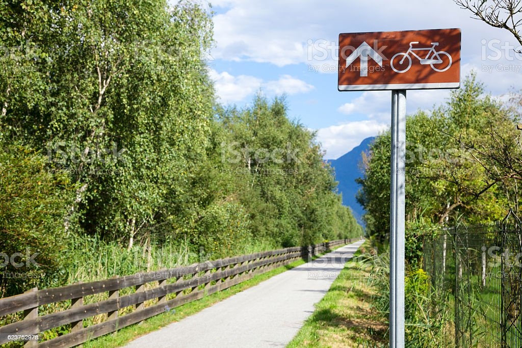 Cycle route directional sign in Italy stock photo