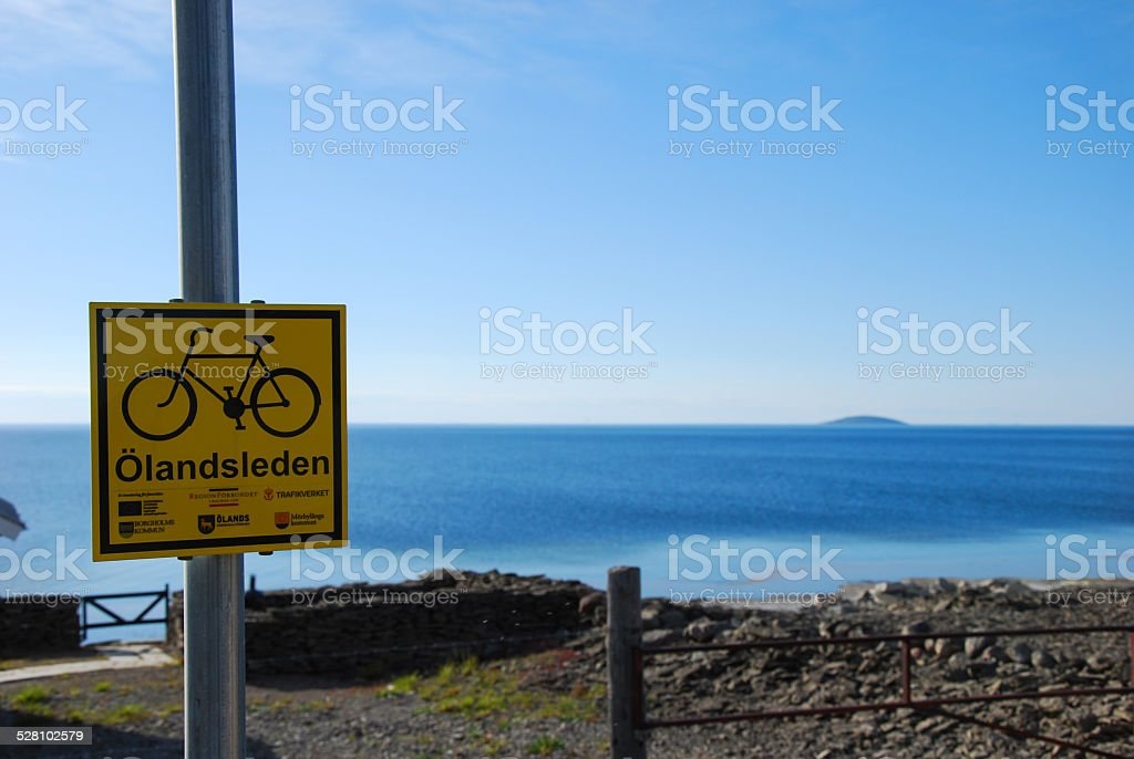 Cycle trail road sign stock photo