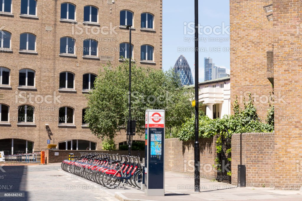 Cycles hire point in St Katharine Docks stock photo