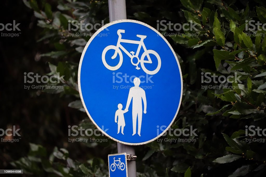 Cycling and pedestrian sign - Royalty-free Bicycle Stock Photo