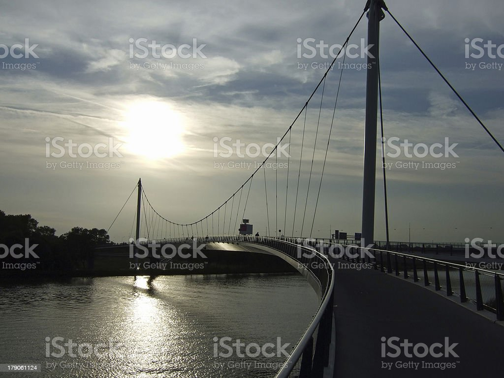 Cycling Bridge IJburg stock photo