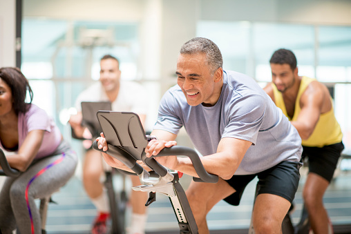 istock Cycling Class at the Gym 596804694
