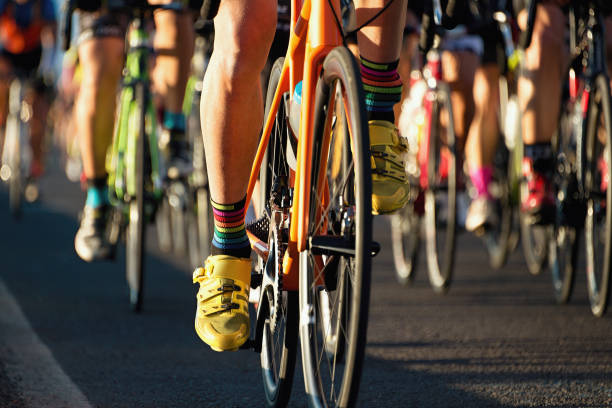 Cycling competition,cyclist athletes riding a race stock photo