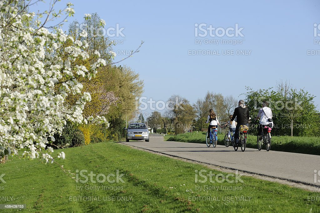Cycling family on a dyke road in the Netherlands royalty-free stock photo