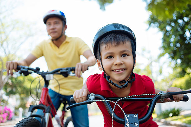 Cycling family stock photo