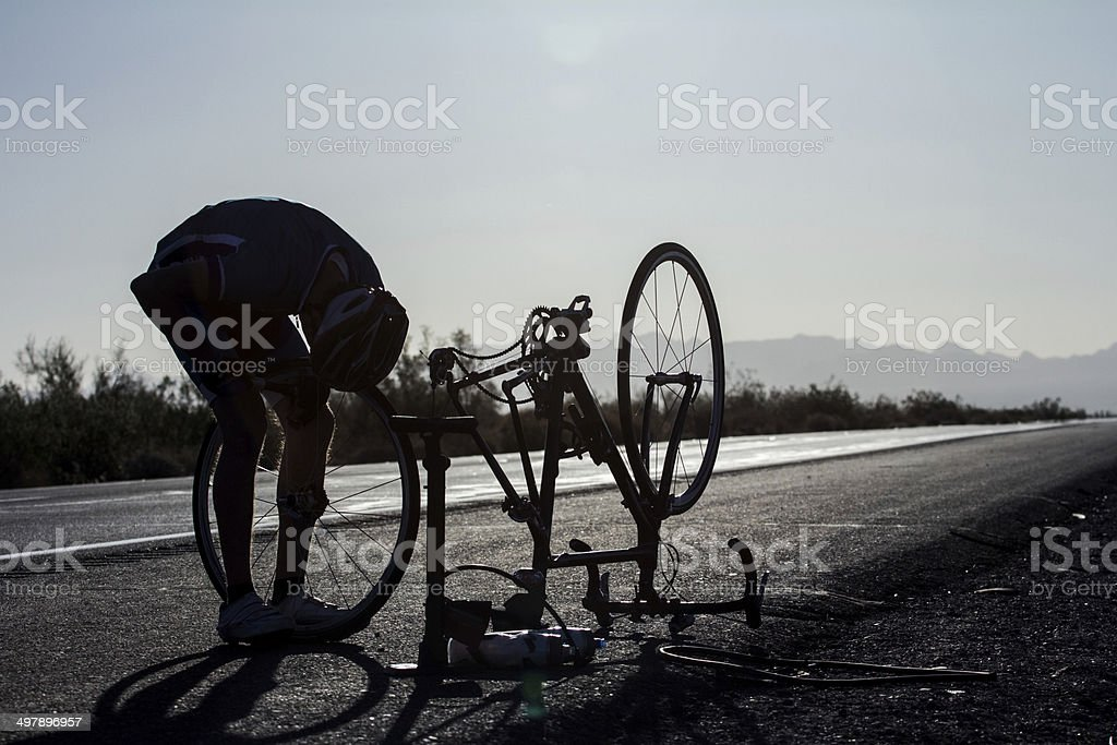 Cycling: Fixing a Flat stock photo